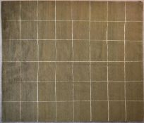 A contemporary rug with windowpane check on a beige green background. L.254x201cm