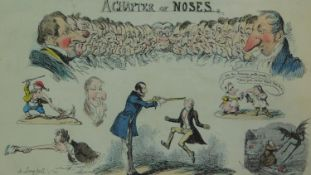 A framed and glazed hand coloured etching 'A Chapter of Noses', 1834 by George Cruikshank 34x42cm