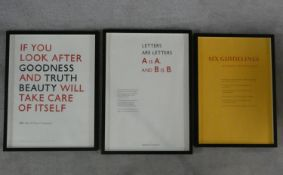 Three framed and glazed limited edition prints of typography pages from Eric Gill's book 'An Essay