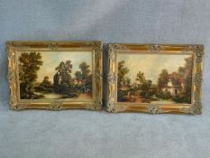A pair of 19th century style oils on canvas, figures in rural country village scenes, in gilt Rococo