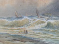 A framed and glazed 19th century watercolour, boats in a storm, by John H. Bland. 77x92cm