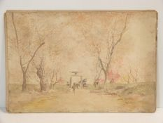 A 19th century Japanese watercolour on paper of figures in a cherry blossom avenue with an