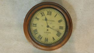 A 19th century mahogany cased wall clock, painted dial with Roman numerals marked Potts and Sons,