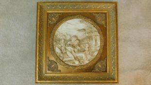 A gilt framed moulded panel, villagers harvesting. 60x60cm