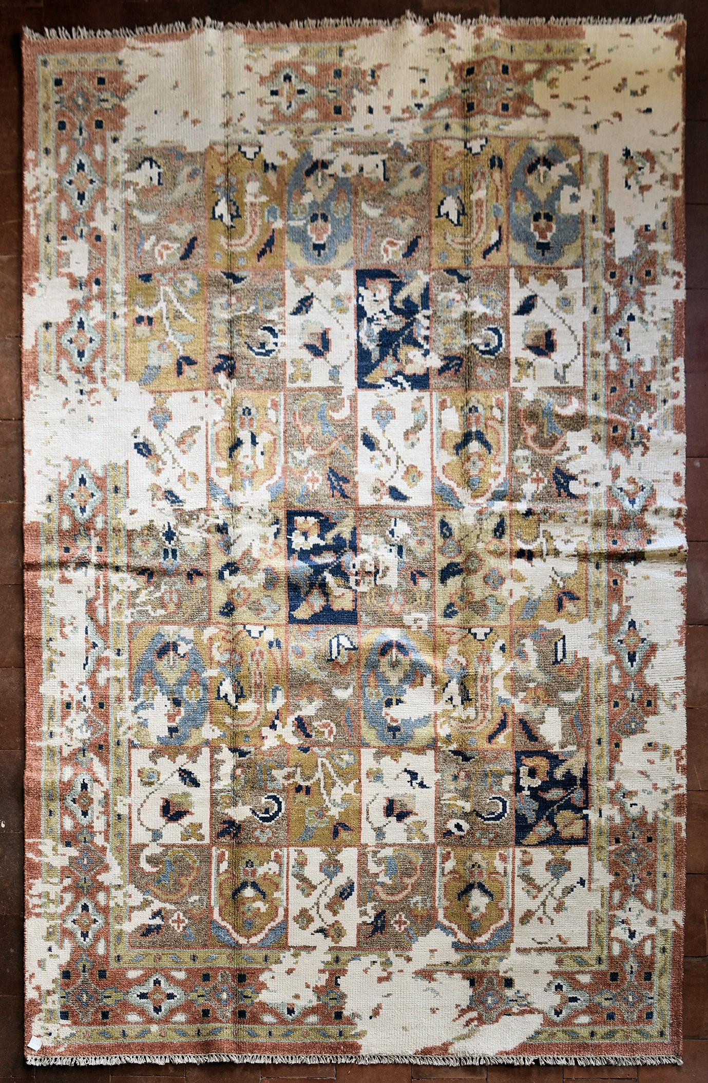 A Bakhtiar Design carpet with floral panels across the field enclosed by stylised geometric borders. - Image 2 of 3