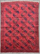 An antique Afghan Bokhara carpet with repeating gul motifs on a burgundy ground within geometric