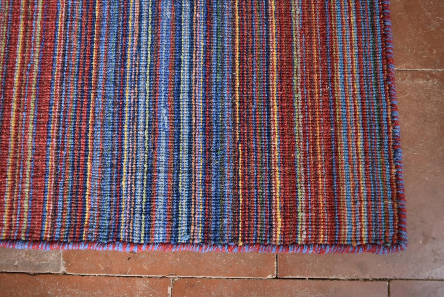 A long modern Kilim runner with bands in various hues of red and blue. L.400xW.70cm - Image 2 of 3