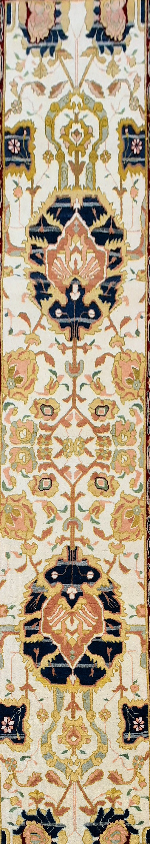 An Agra design runner with double palmette pole medallion on a fawn field within stylised foliate - Image 2 of 4