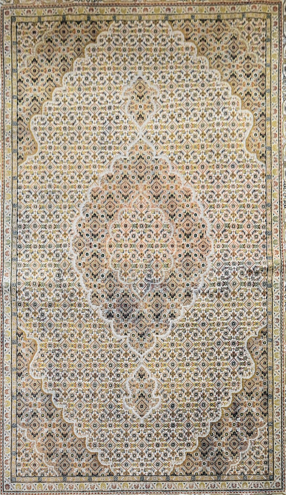 A silk & wool Tabriz style carpet with central medallion and repeating floral design across the fawn - Image 2 of 4