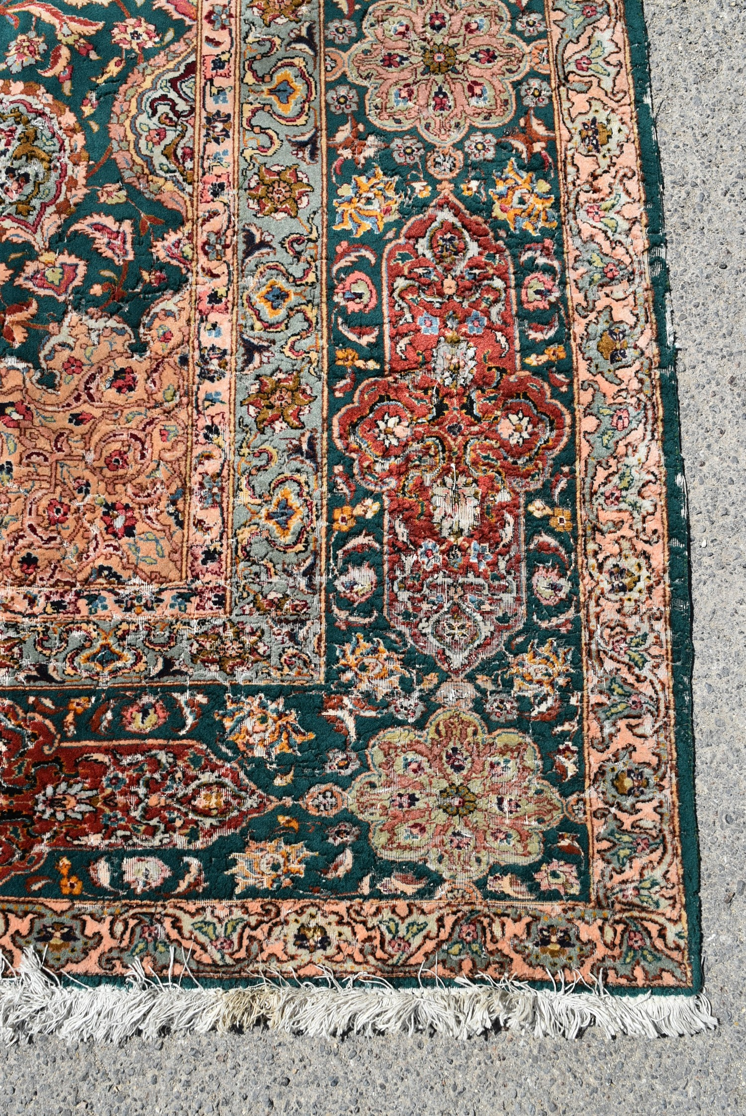A fine Persian Tabriz carpet with central floral medallion and meandering flowerhead motifs across - Image 3 of 4