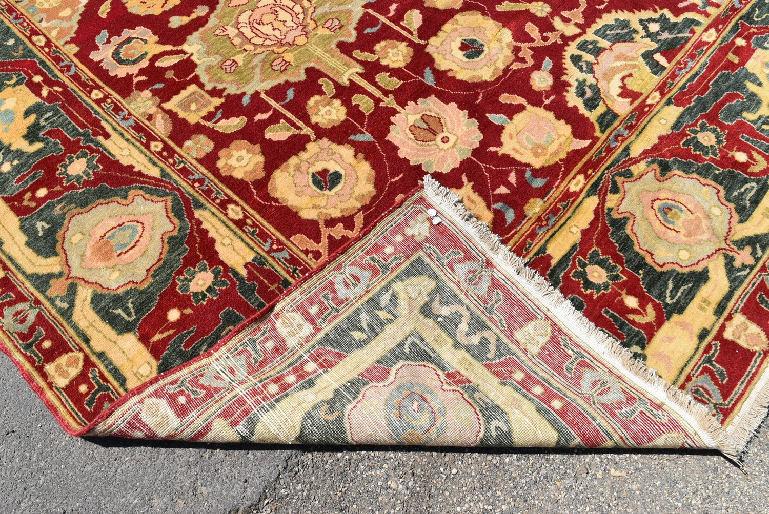 A fine large Agra carpet with all over repeating scrolling palmette and lotus flower decoration on a - Image 4 of 4