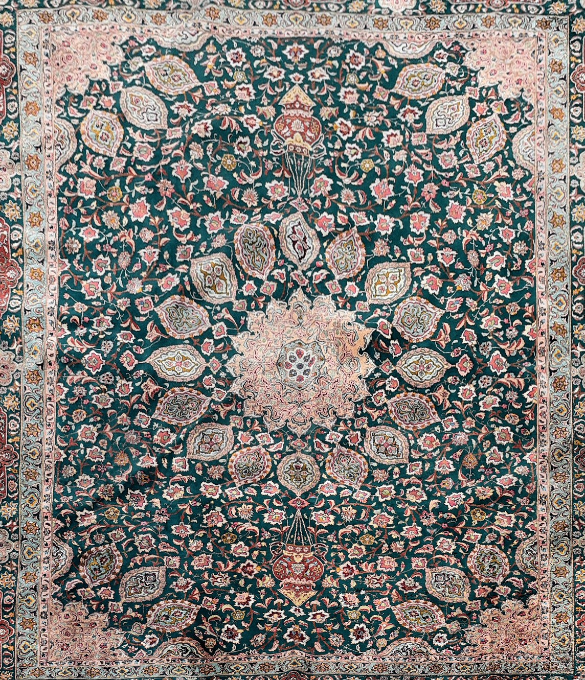 A fine Persian Tabriz carpet with central floral medallion and meandering flowerhead motifs across - Image 2 of 4