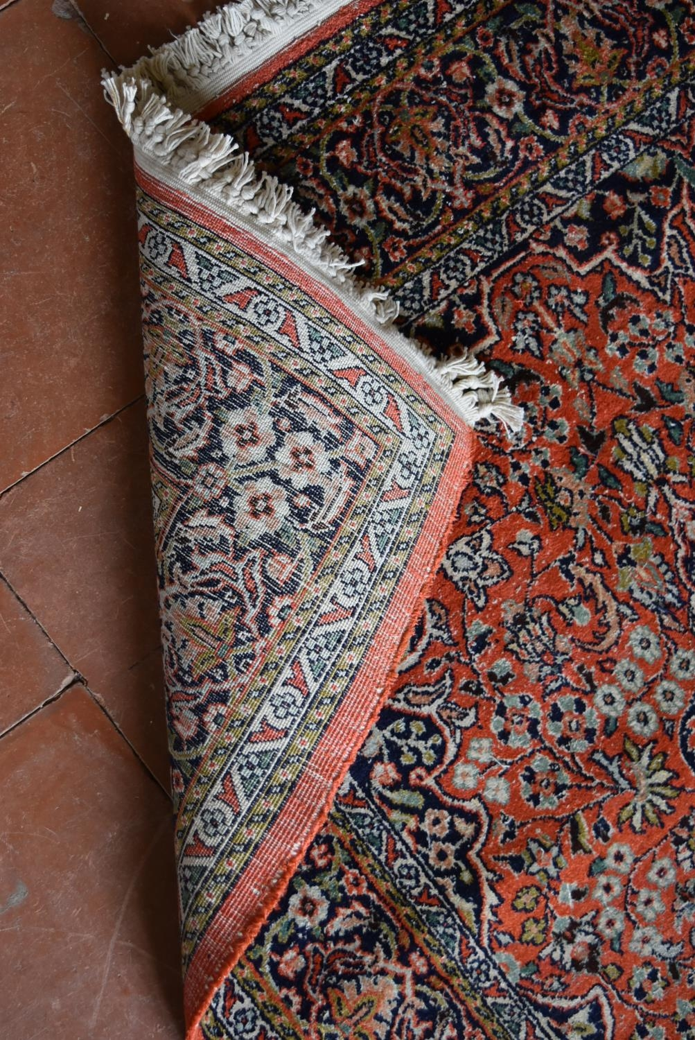 A silk Kashmir rug with central pendant medallion on madder field contained within floral - Image 4 of 4