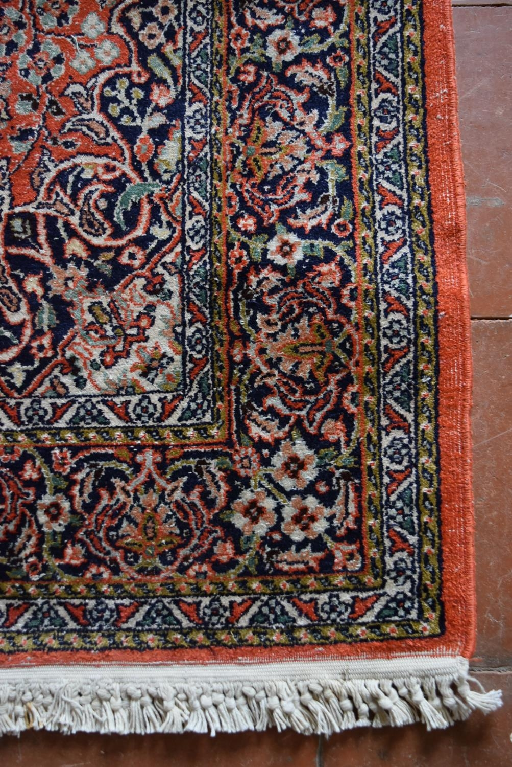 A silk Kashmir rug with central pendant medallion on madder field contained within floral - Image 3 of 4