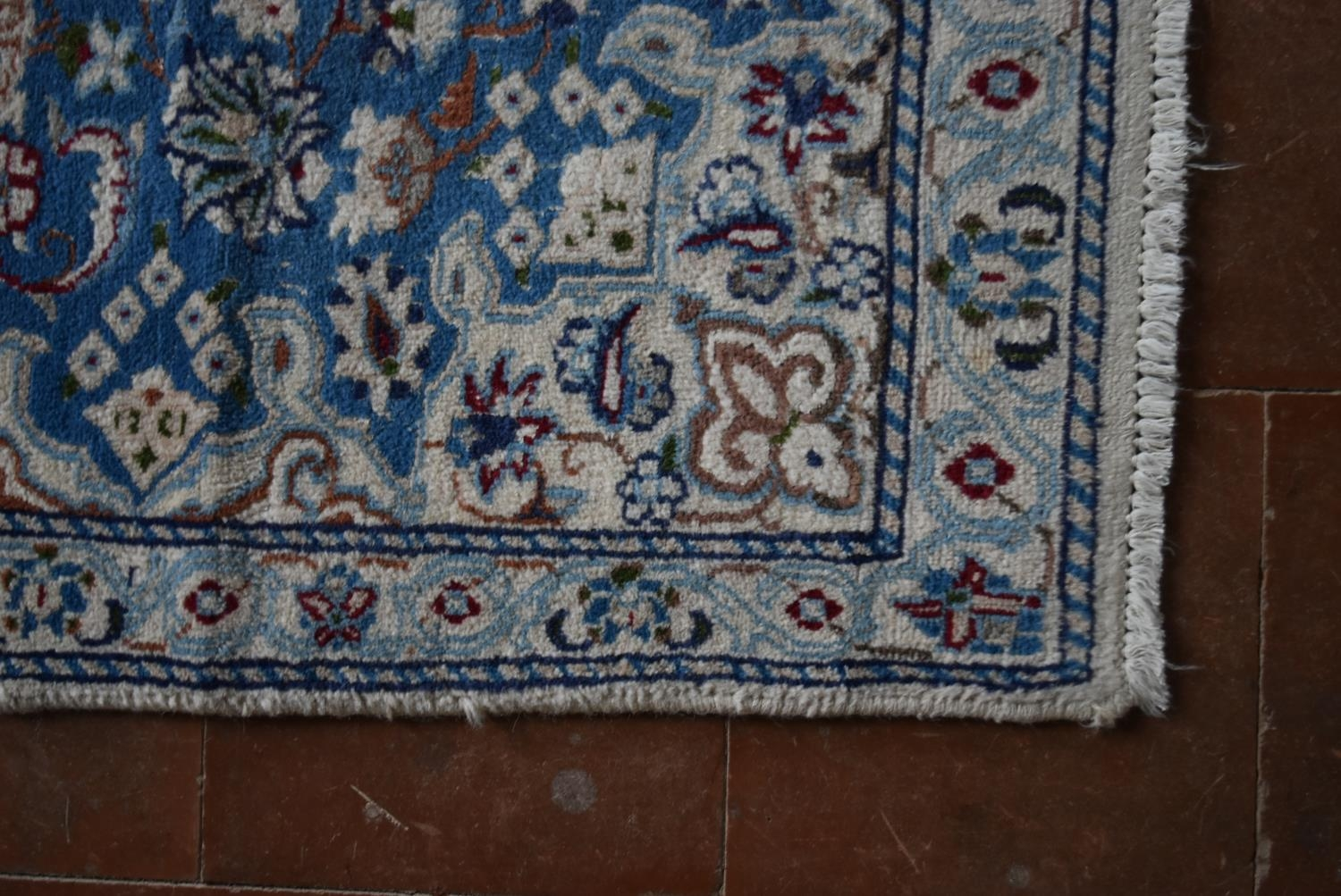 A Persian silk & wool Naiin style rug with central medallion on pale blue ground contained by a - Image 3 of 4
