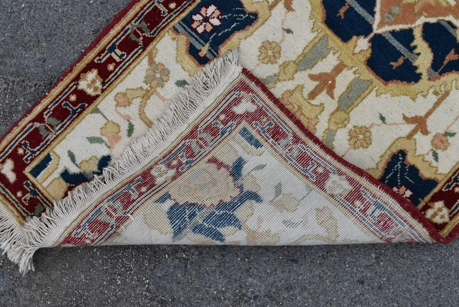 An Agra design runner with double palmette pole medallion on a fawn field within stylised foliate - Image 4 of 4