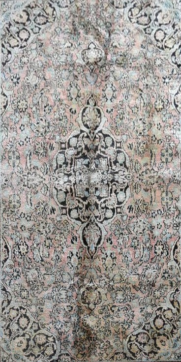 A silk Kashmir rug with central pendant medallion and scrolling floral design on a pale pink - Image 2 of 5