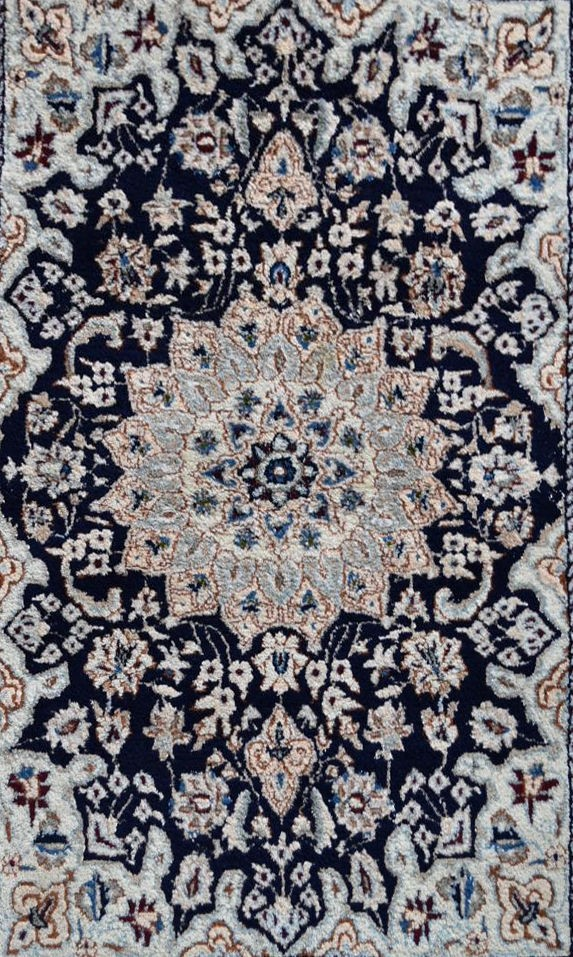 A Persian silk & wool Naiin rug with central floral medallion on a midnight ground within floral - Image 2 of 4