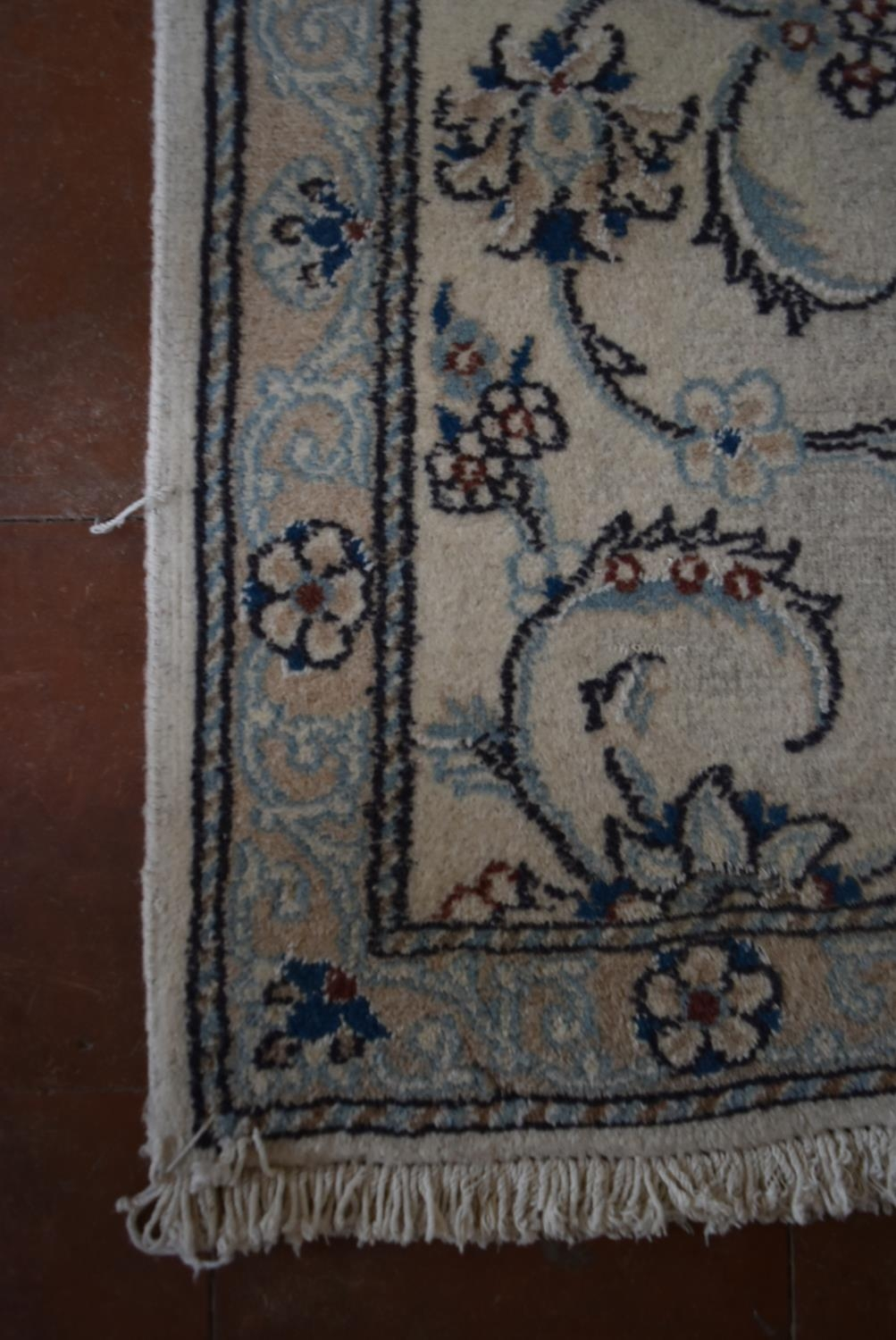A Persian silk and wool Naiin runner with scrolling leaf and lotus pattern on the fawn ground within - Image 3 of 4
