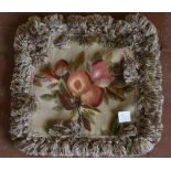 Pair of Aubusson style cushion covers with fruit and leaf design. L.40xW.45cm