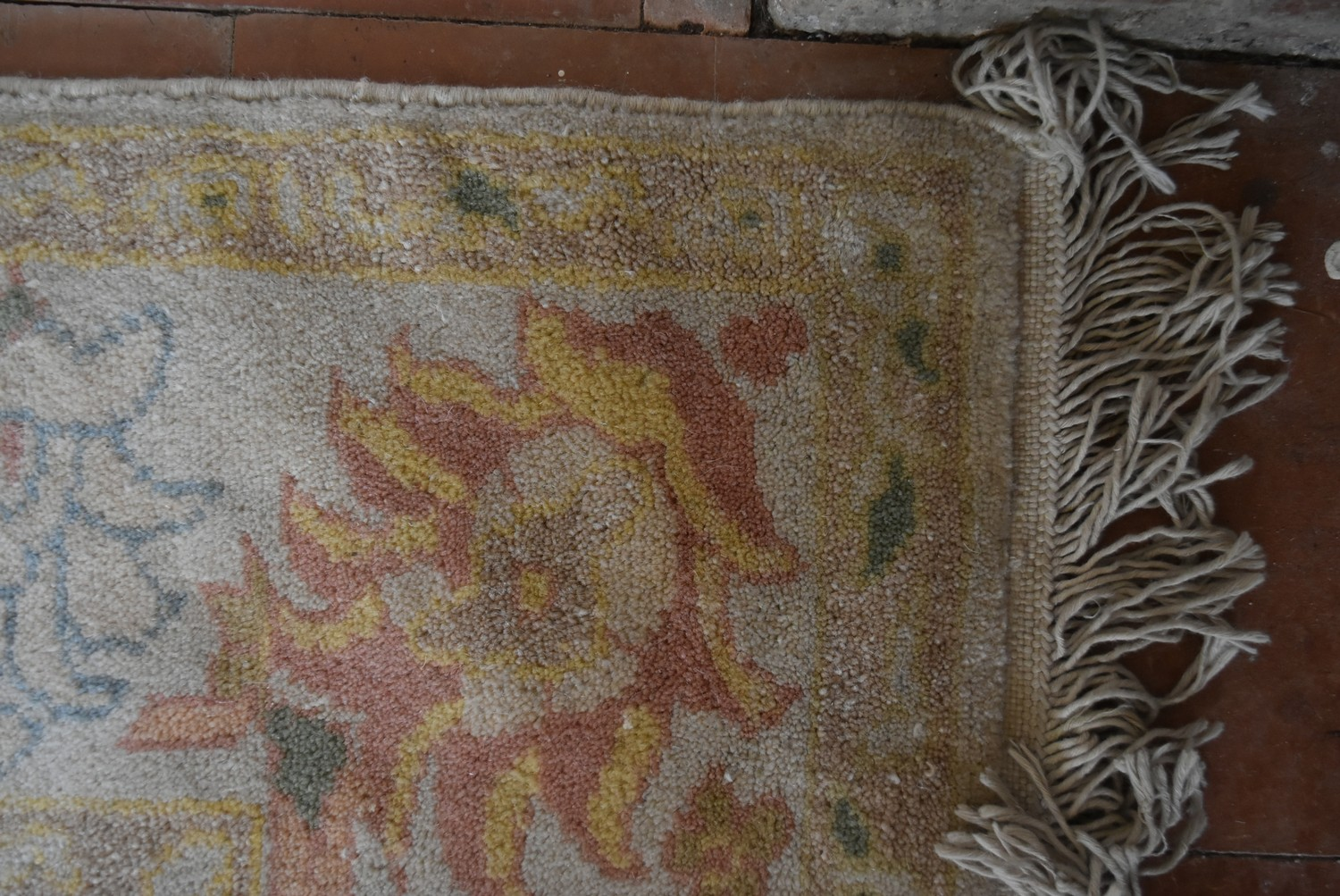 A Ziegler design carpet with repeating floral motifs across the beige field contained by a lotus and - Image 3 of 4