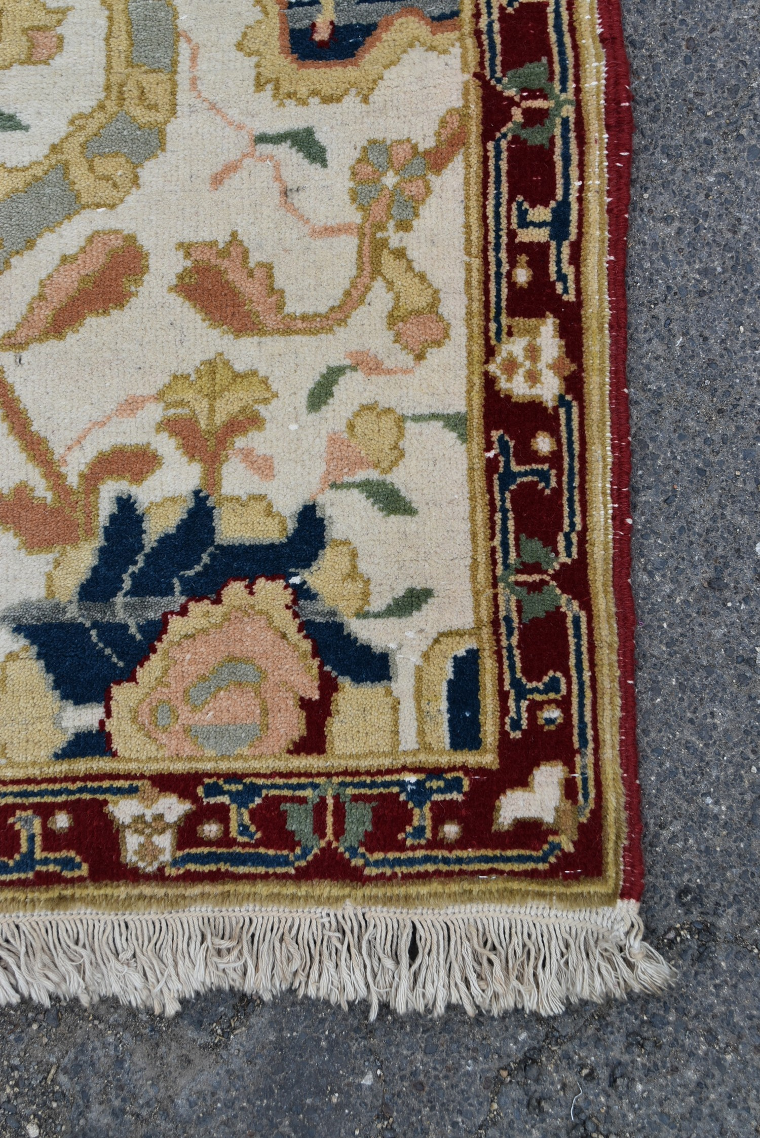 An Agra design runner with double palmette pole medallion on a fawn field within stylised foliate - Image 3 of 4