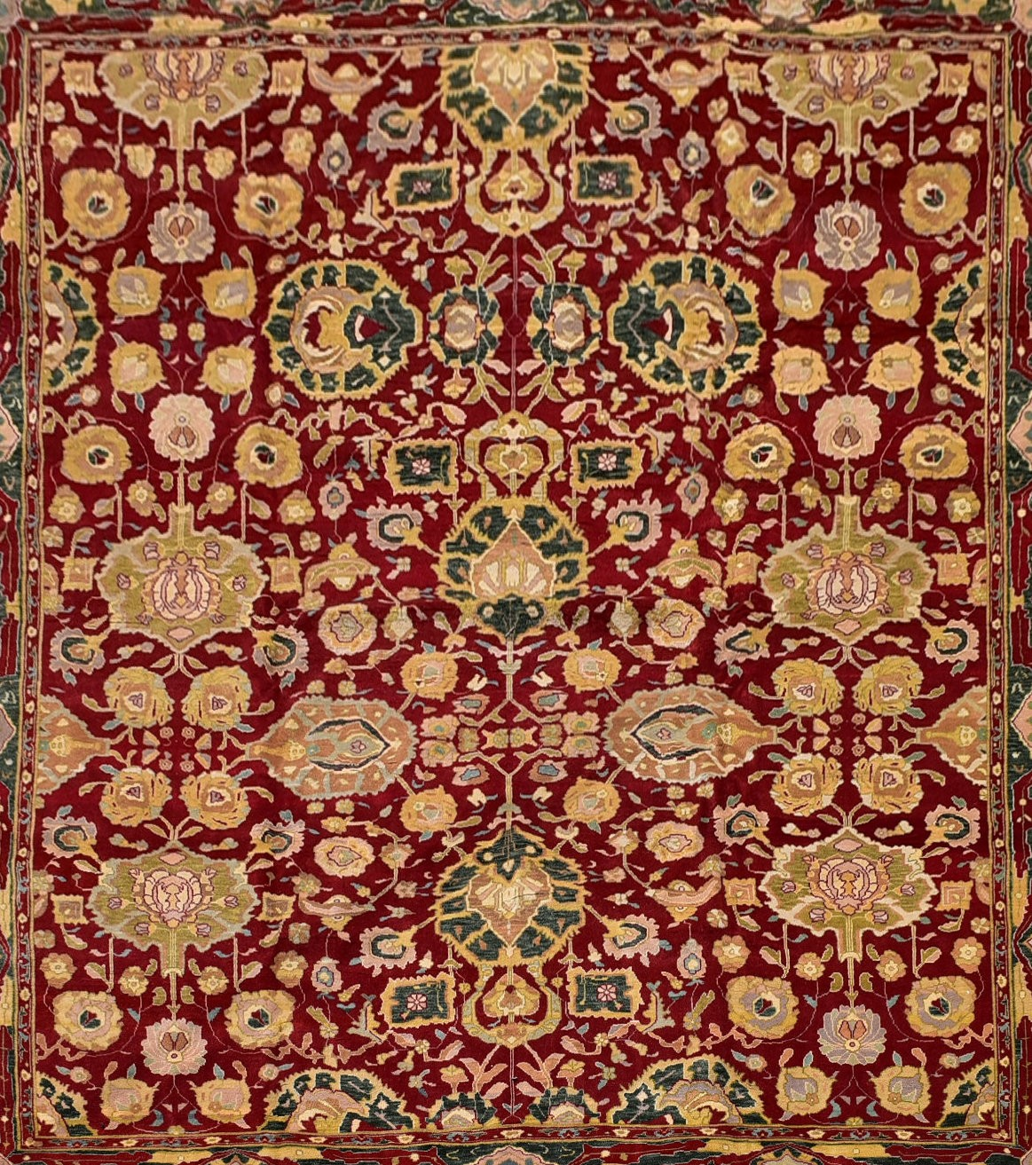 A fine large Agra carpet with all over repeating scrolling palmette and lotus flower decoration on a - Image 2 of 4