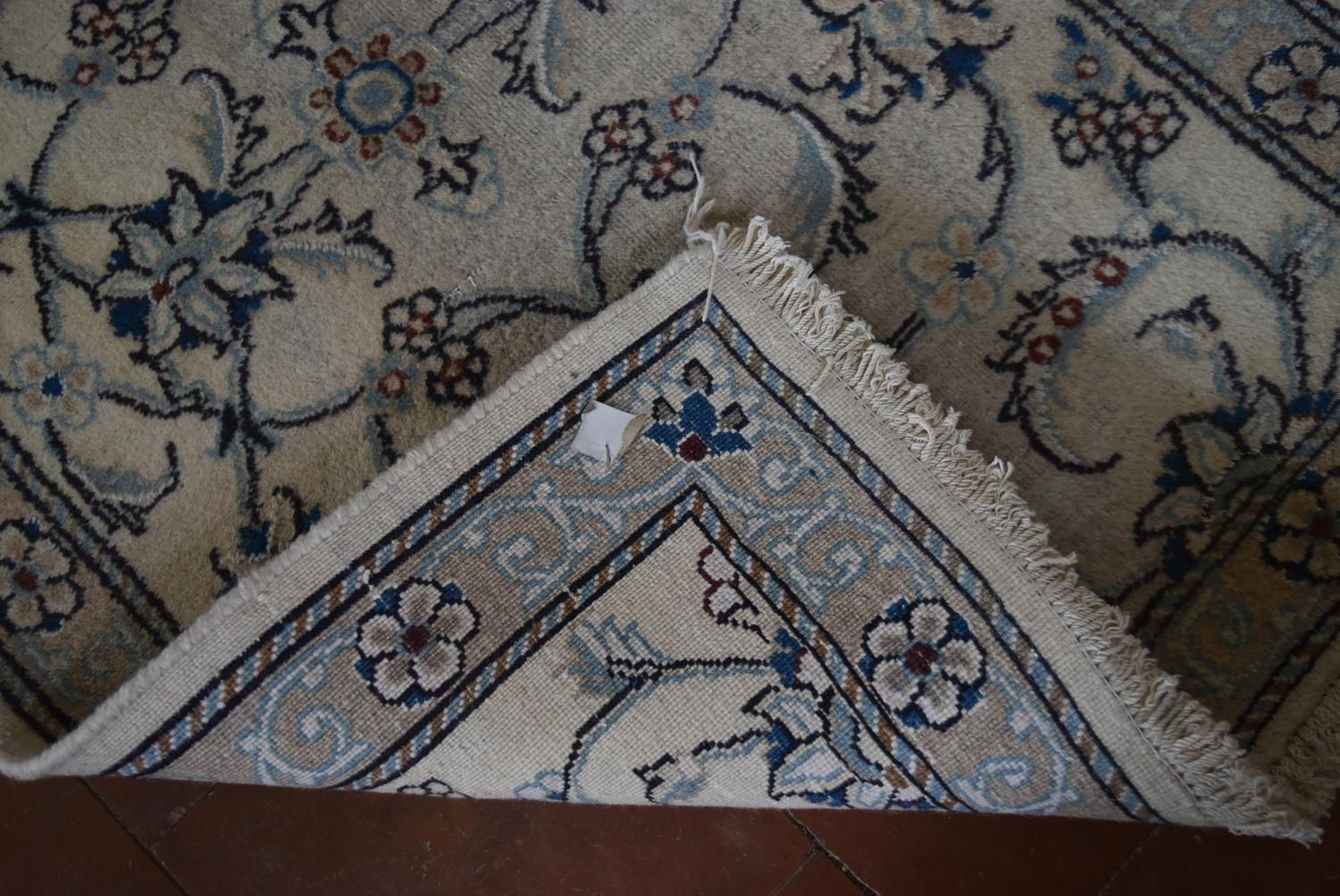 A Persian silk and wool Naiin runner with scrolling leaf and lotus pattern on the fawn ground within - Image 4 of 4