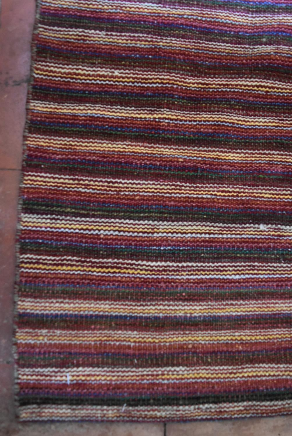 A large Modern Kilim with woven bands in hues of burgundy, cream and blue. L.332xW.247cm - Image 2 of 4