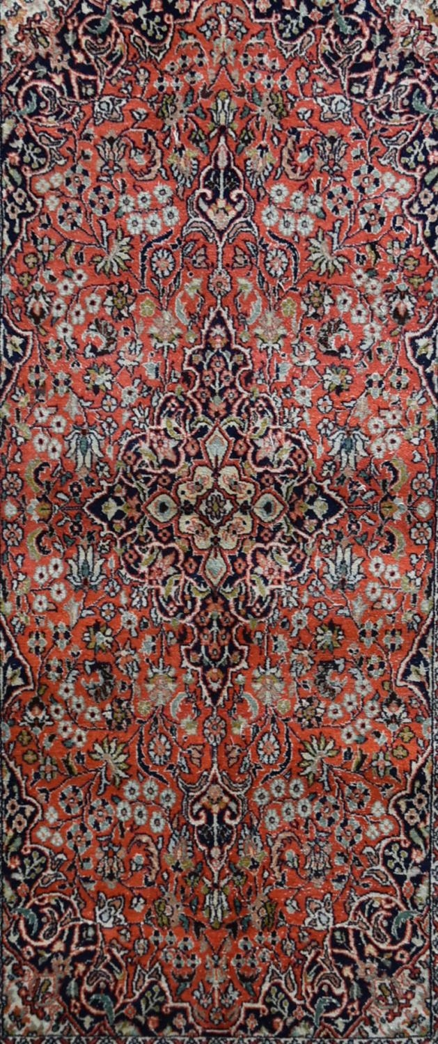 A silk Kashmir rug with central pendant medallion on madder field contained within floral - Image 2 of 4