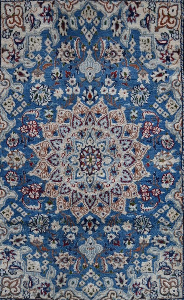 A Persian silk & wool Naiin style rug with central medallion on pale blue ground contained by a - Image 2 of 4