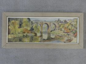 Jack Merriott (1901-1968) a framed and glazed watercolour, village with bridge on a river, signed