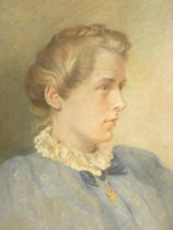 A framed and glazed watercolour, female portrait, inscription to the reverse, unsigned. 34x44cm