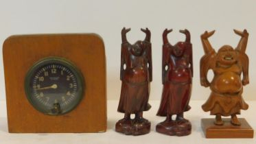 Three vintage carved Japanese hardwood happy Buddha's with raised arms, one with bone teeth along
