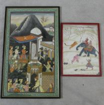 Two framed and glazed Indo-Persian silk paintings. One of a hunt on elephant back with wild