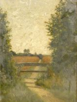 A 19th century gilt framed oil on board, rural scene with a country path and distant trees and