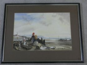 A framed and glazed watercolour in the 19th century style, fisher folk by the shore with their