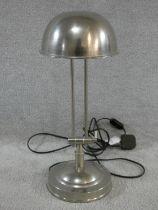 A vintage brushed metal adjustable desk lamp. H.47cm