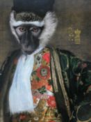 An ibride lacquered tray, Cornelius the monkey in nobleman's robes with Chinese motifs to the border