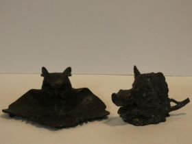 Two vintage bronze inkwells, one with inkwell and pen tray in the form of an owl with wings