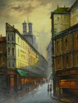 A large vintage gilt framed oil on canvas, Continental city street scene with figures,