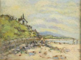 Harold Harris Jones (1908-1991) a gilt framed and glazed oil on board, Seascale Cumbria, signed