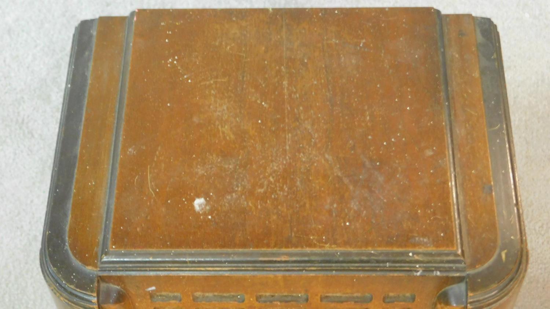 A vintage Pilot Radio Ltd valve radio in burr walnut Art Deco case. H.50 W.39 D.28cm - Image 4 of 10