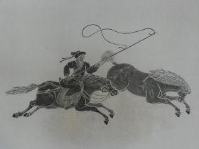 A glazed woodblock print in silvered frame, Eastern horseman. H.71xW.71cm