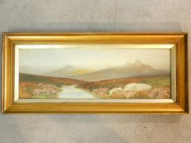 An early 20th century watercolour, sheep on Dartmoor, inscribed, dated 1915 and indistinctly