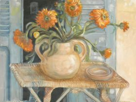 A large framed oil on canvas laid on board, still life flowers, unsigned. 76x96cm