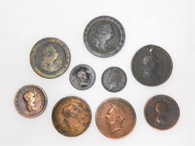 A collection of nine 19th century George III and George IV coins. Including two cartwheel pennies