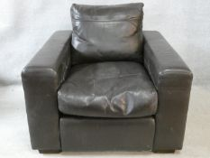A vintage style brown leather down filled Collins & Hayes upholstered armchair. H.71 W.90 D.98cm