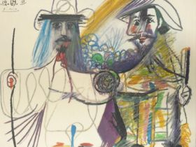After Pablo Picasso (1881-1973), a framed and glazed coloured lithograph, 16.12.69 III, facsimile