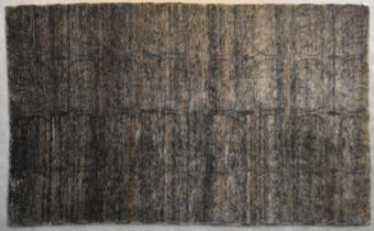 A contemporary rug with scrolling design on a field of shades of taupe and grey. L.270x180cm